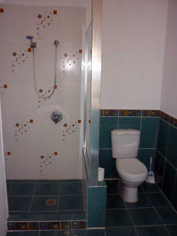 shower and toilet in third bedroom